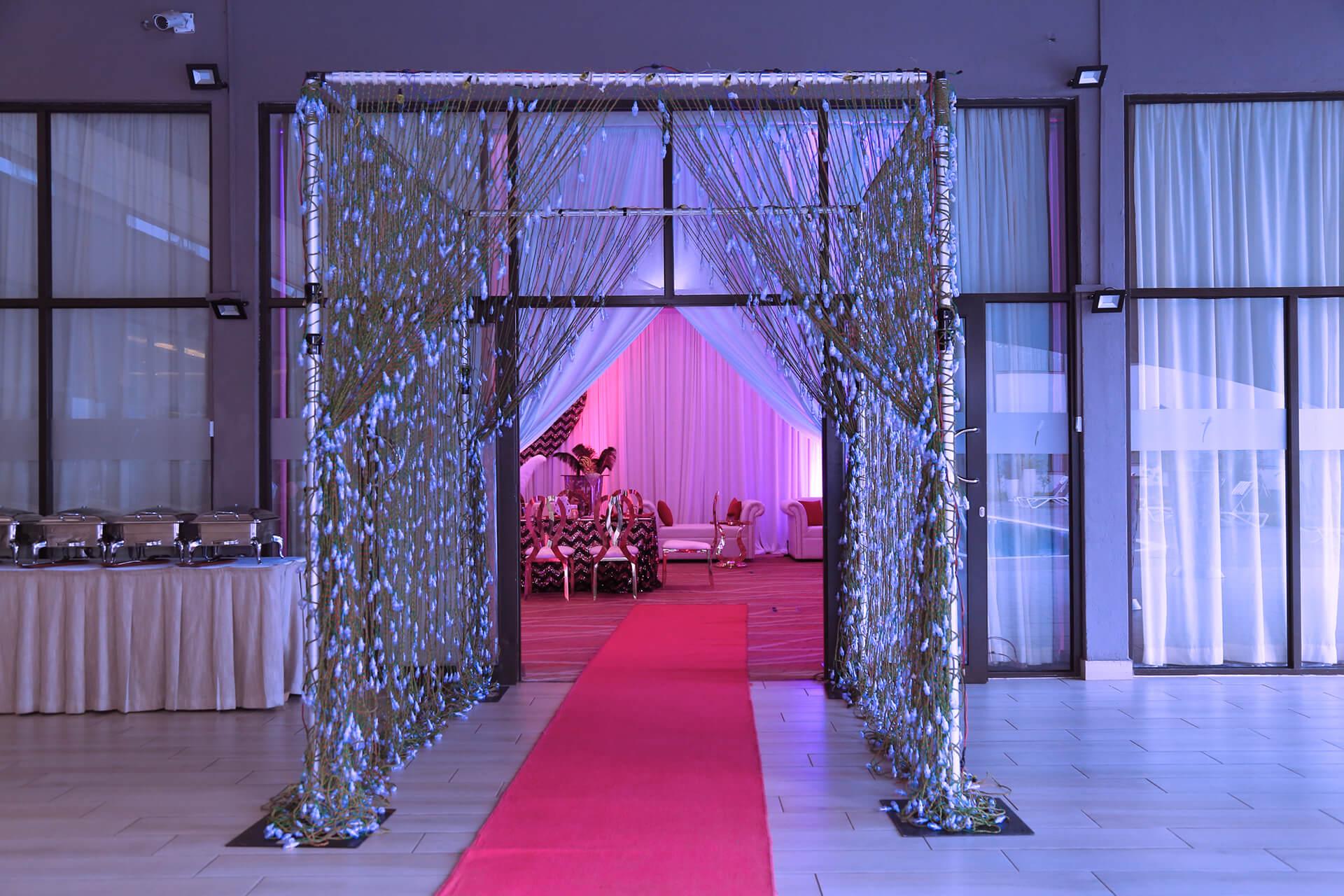 White Lounge & Decor Parties Event entrance